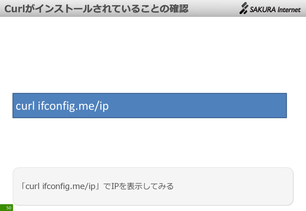 50 「curl ifconfig.me/ip」でIPを表示してみる curl ifconfi...