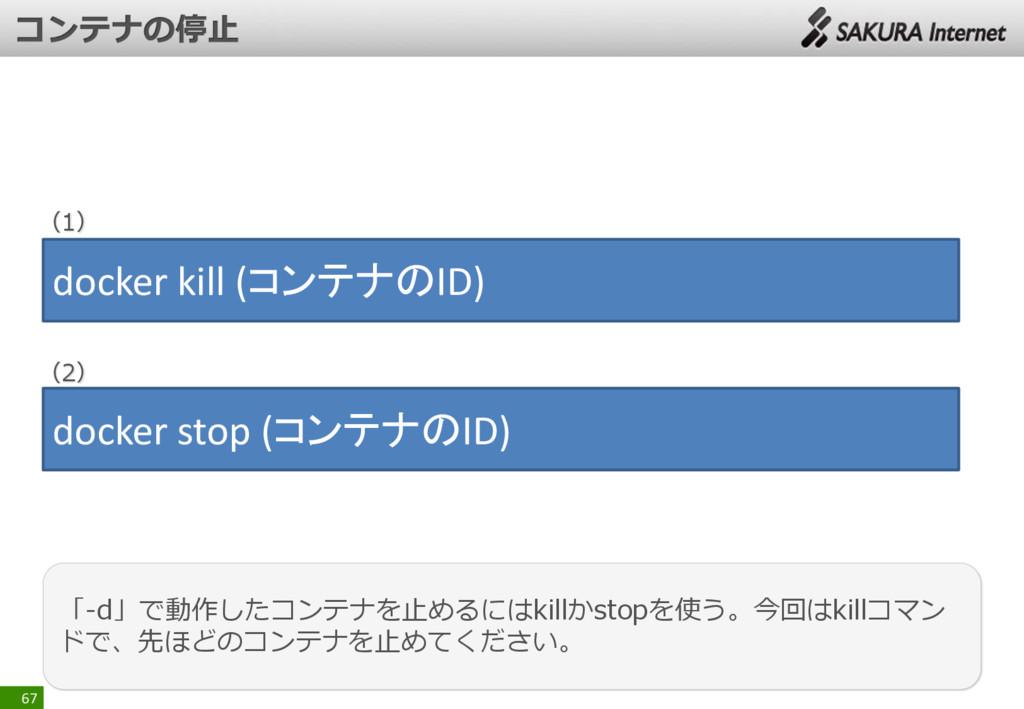 67 「-d」で動作したコンテナを止めるにはkillかstopを使う。今回はkillコマン ド...