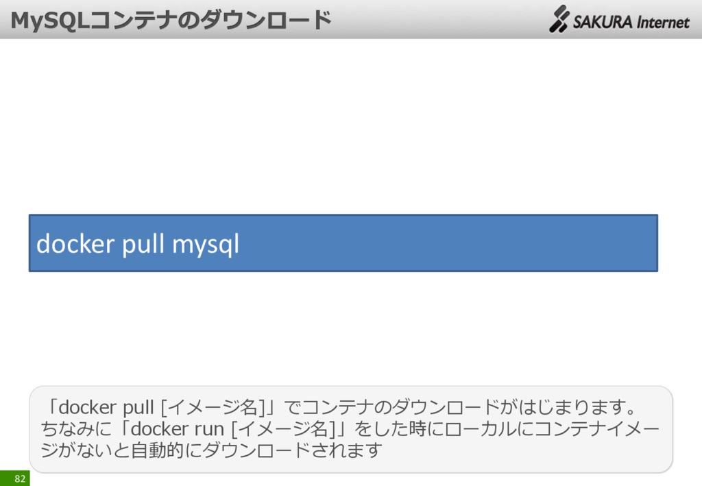 82 「docker pull [イメージ名]」でコンテナのダウンロードがはじまります。 ちな...