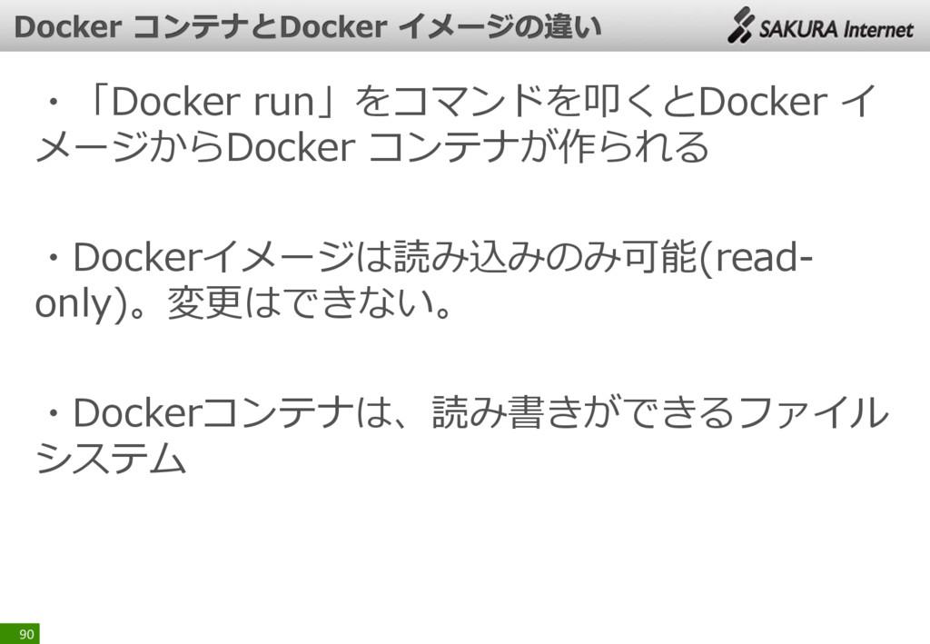 ・「Docker run」をコマンドを叩くとDocker イ メージからDocker コンテナ...