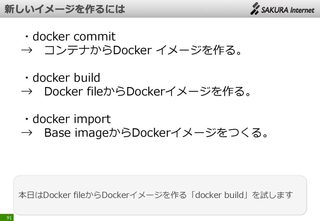 91 本日はDocker fileからDockerイメージを作る「docker build」を...
