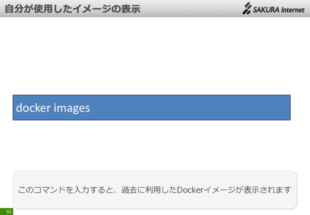 92 このコマンドを入力すると、過去に利用したDockerイメージが表示されます docker...