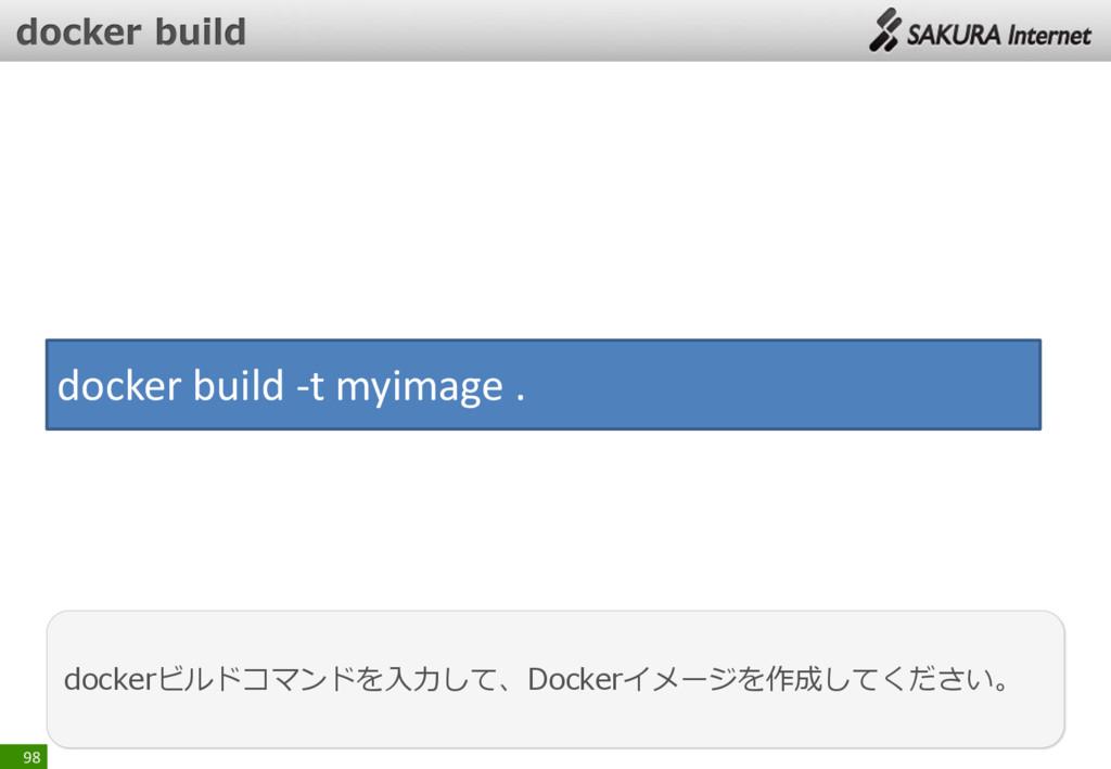 98 dockerビルドコマンドを入力して、Dockerイメージを作成してください。 dock...