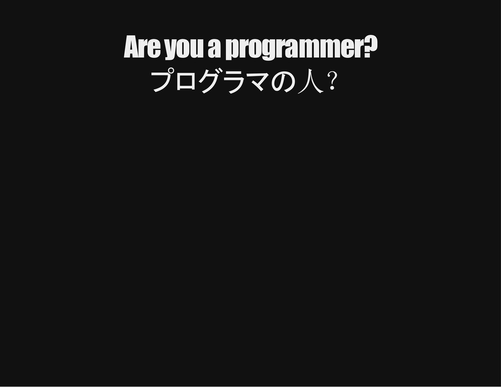 Are you a programmer? プログラマの人?