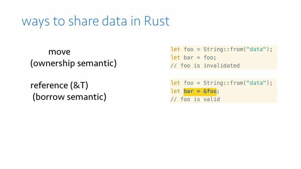 ways to share data in Rust let foo = String::fr...