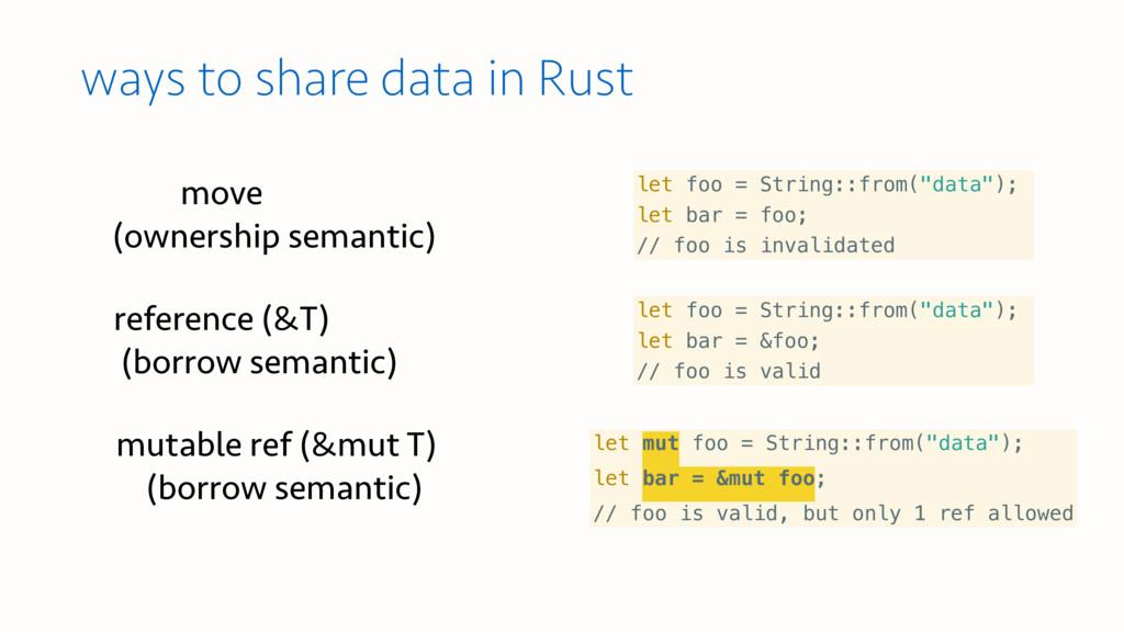 move  (ownership semantic) let mut foo = Strin...