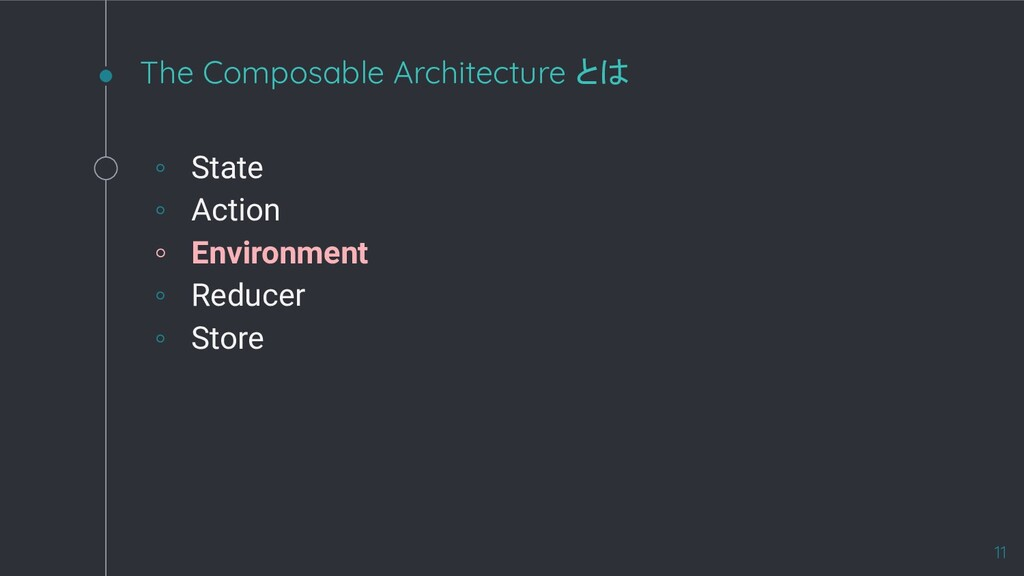 The Composable Architecture とは ◦ State ◦ Action...