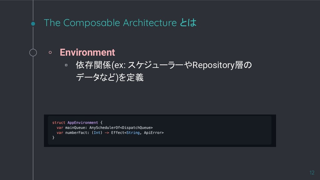 The Composable Architecture とは ◦ Environment ▫ ...