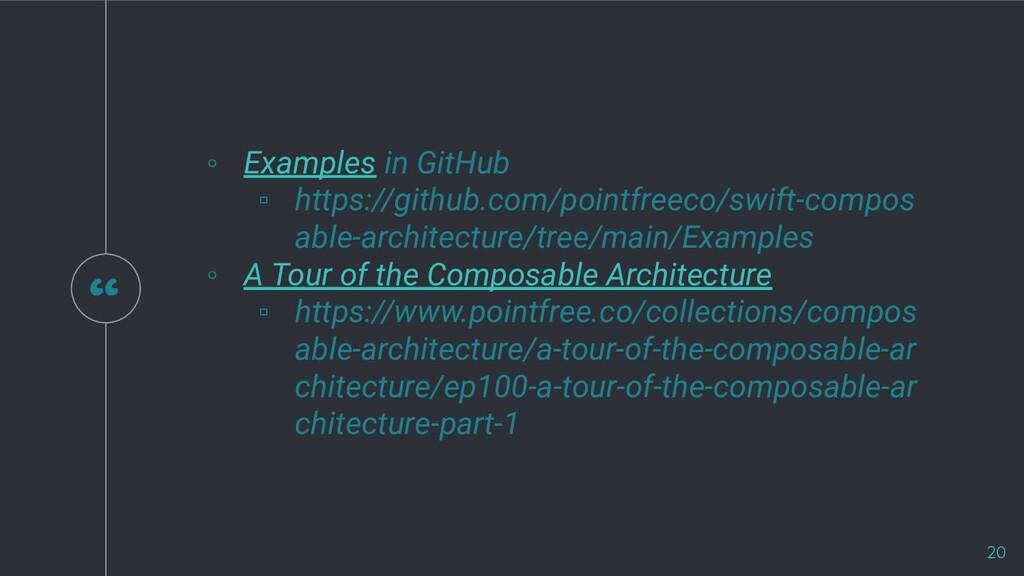 """"""" ◦ Examples in GitHub ▫ https://github.com/poi..."""