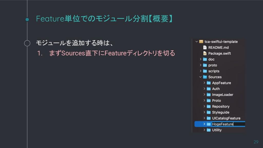 モジュールを追加する時は、 1. まずSources直下にFeatureディレクトリを切る F...