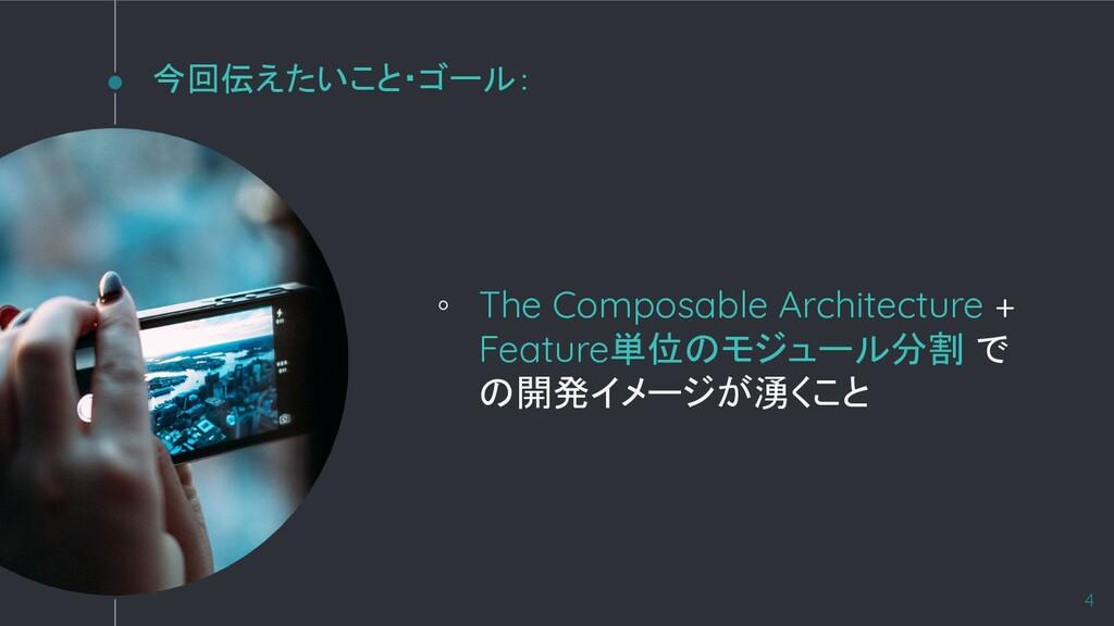 今回伝えたいこと・ゴール: ◦ The Composable Architecture + F...