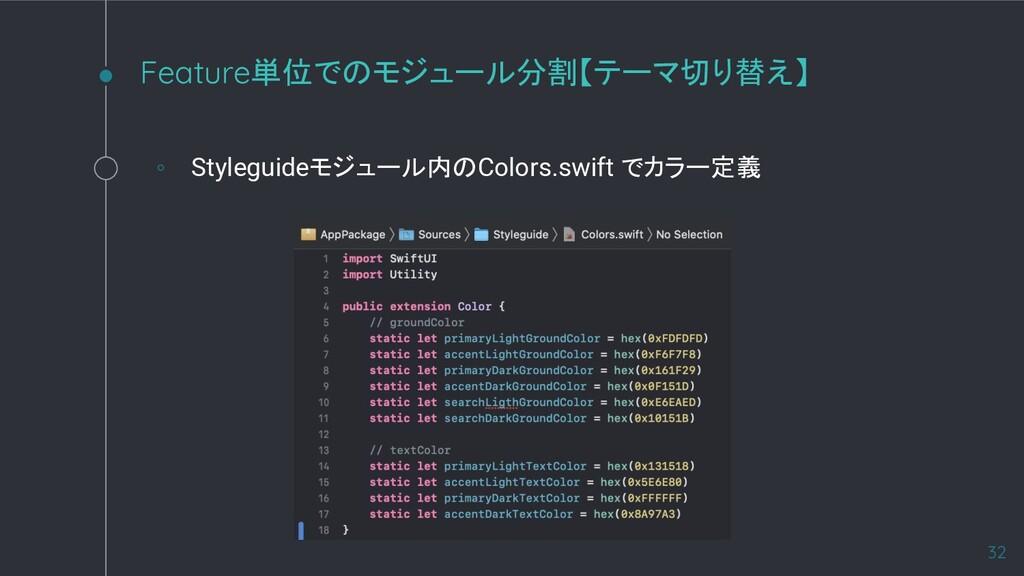 Feature単位でのモジュール分割【テーマ切り替え】 32 ◦ Styleguideモジュー...