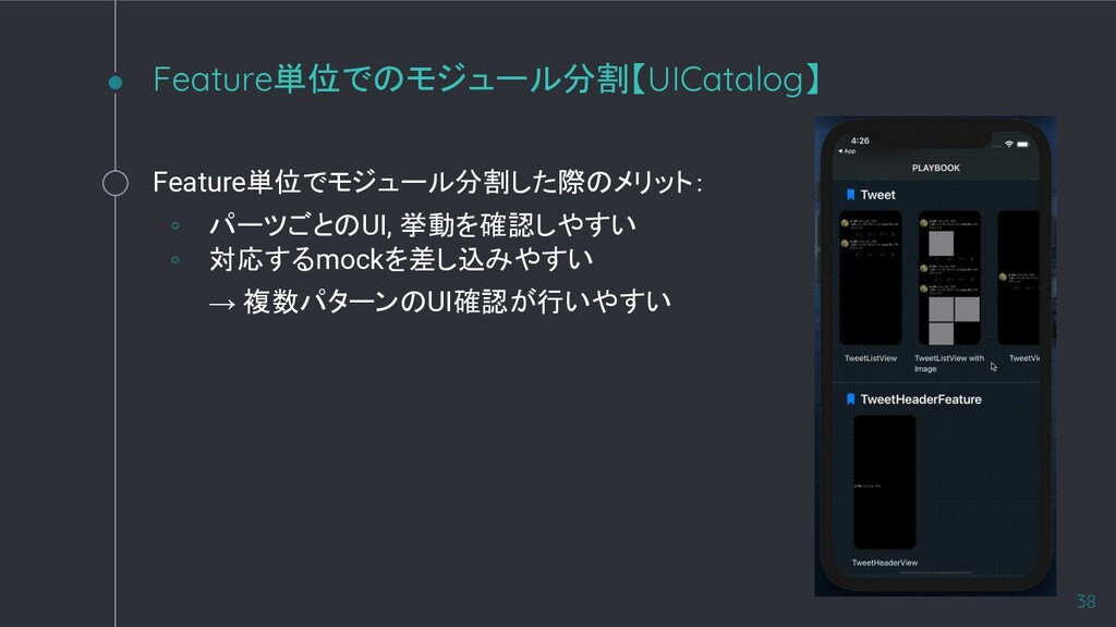 Feature単位でのモジュール分割【UICatalog】 38 Feature単位でモジュー...