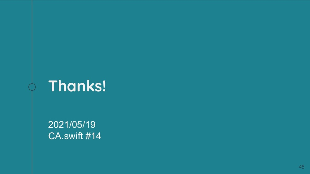 Thanks! 45 2021/05/19 CA.swift #14