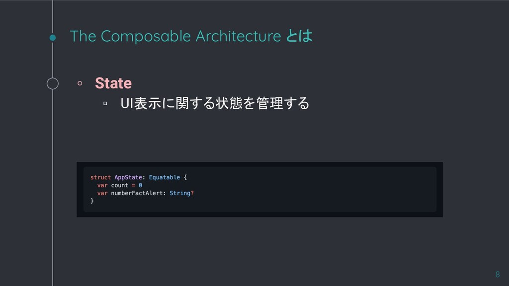 The Composable Architecture とは ◦ State ▫ UI表示に関...