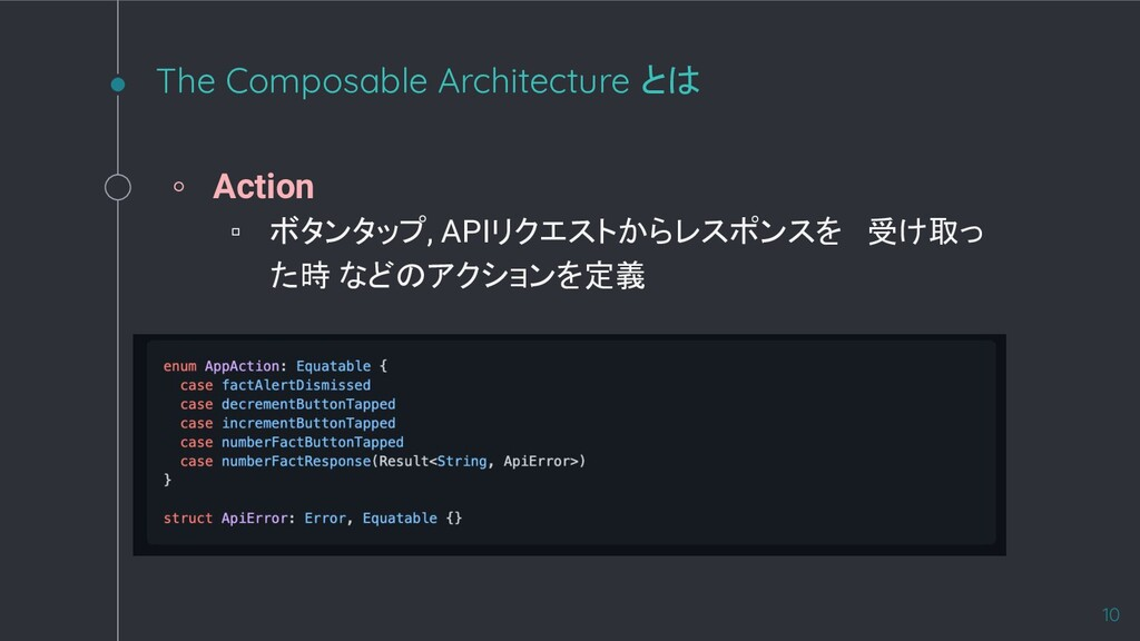 The Composable Architecture とは ◦ Action ▫ ボタンタッ...