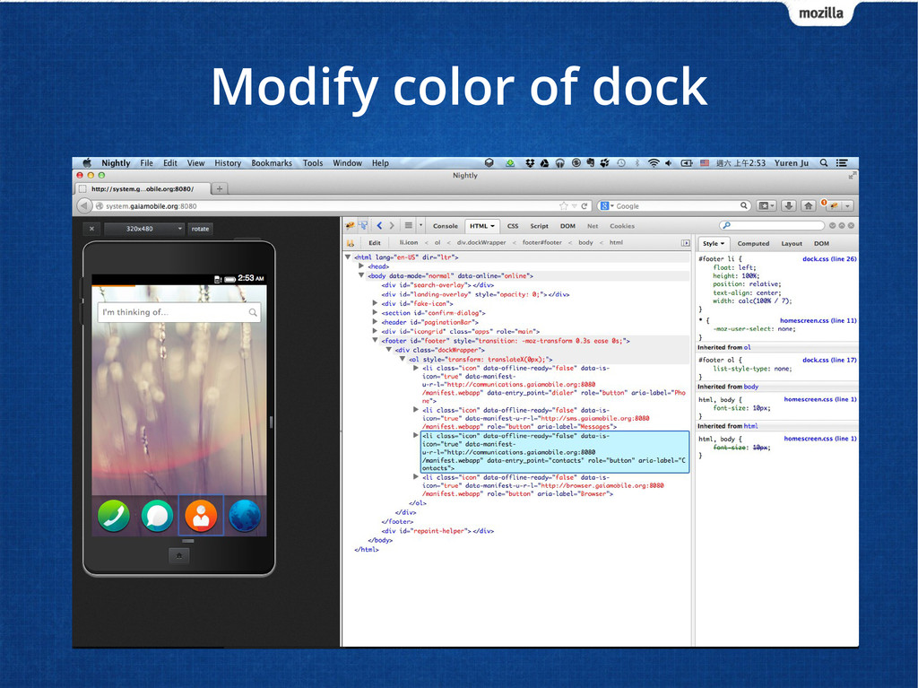 Modify color of dock