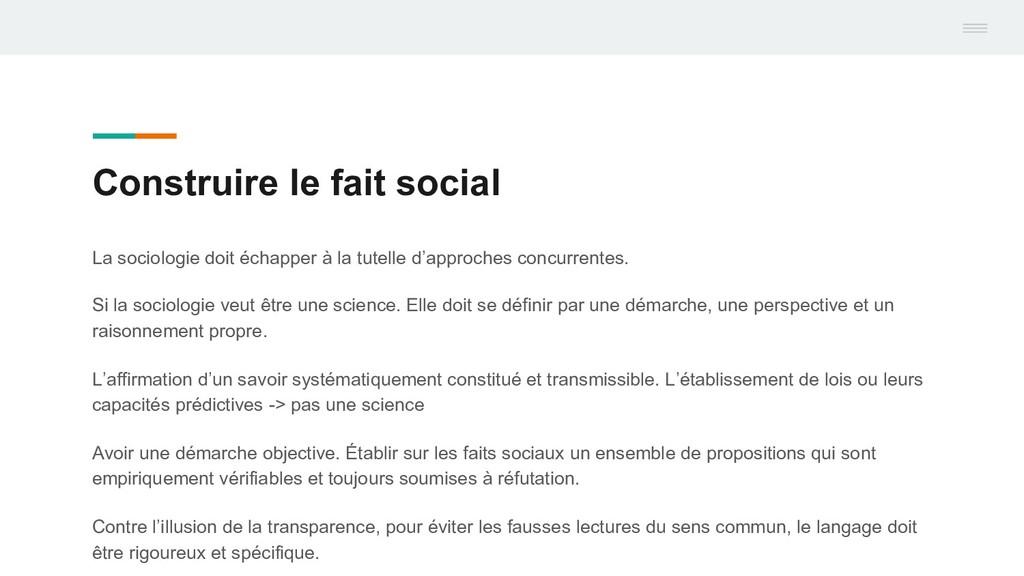 Construire le fait social La sociologie doit éc...