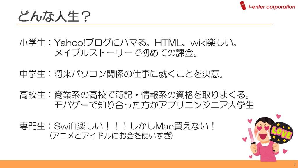 小学生:Yahoo!ブログにハマる。HTML、wiki楽しい。 メイプルストーリーで初めての課...
