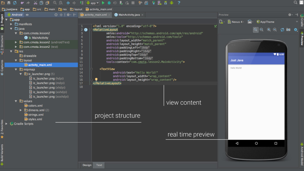 real time preview project structure view content