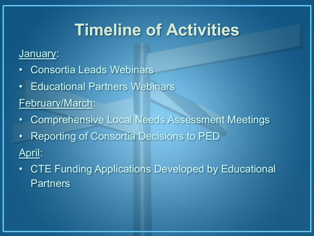 Timeline of Activities January: • Consortia Lea...