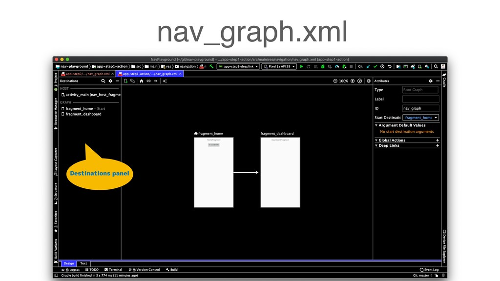 nav_graph.xml Destinations panel