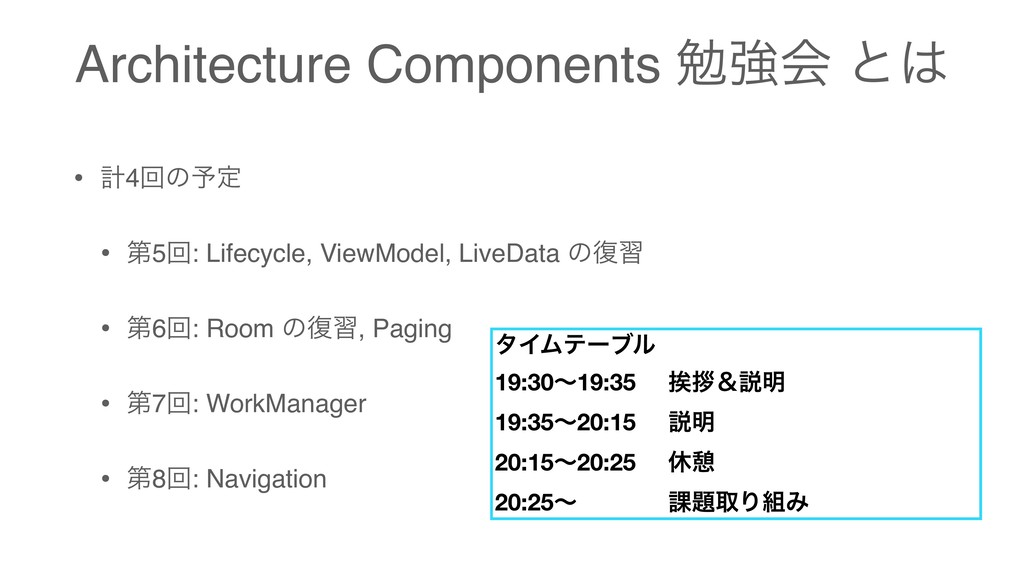 Architecture Components ษڧձ ͱ • ܭ4ճͷ༧ఆ • ୈ5ճ: ...