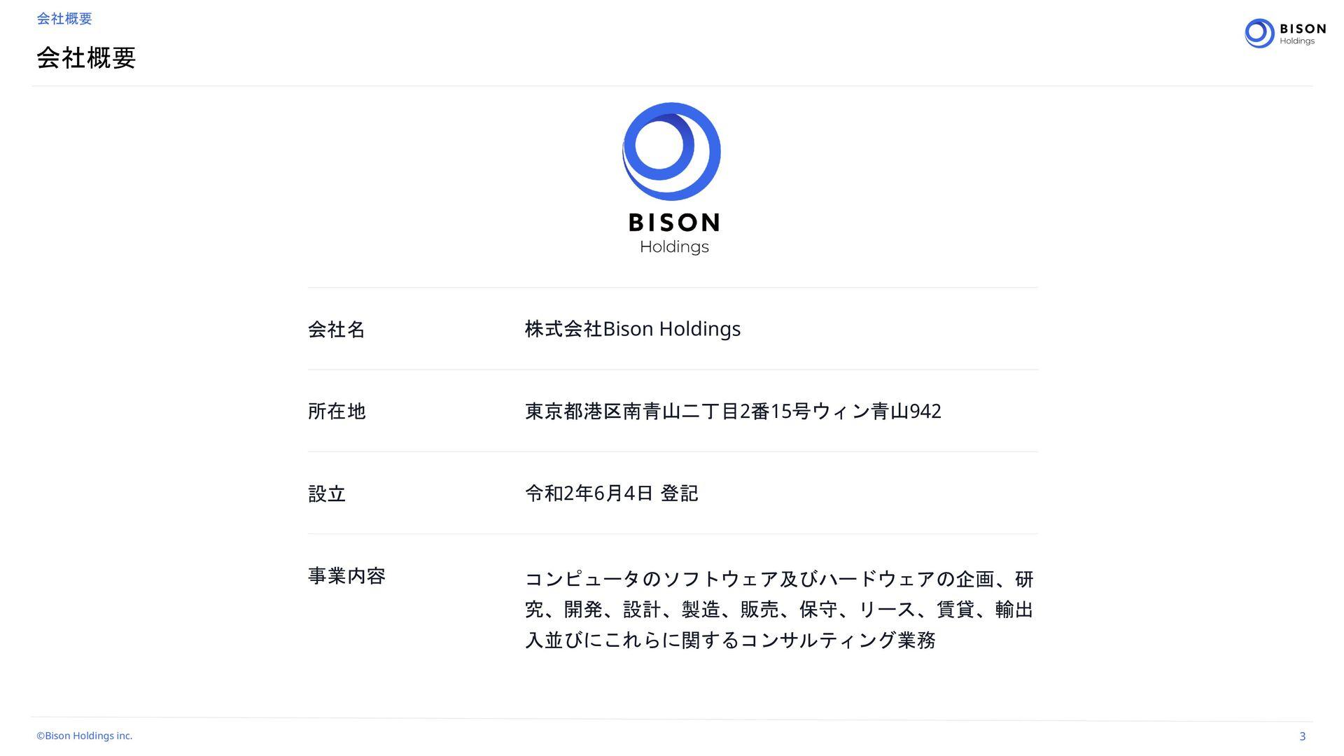 Bison Holdings Corporate Pro fi le 3 ձࣾ֓ཁ ձࣾใ ...