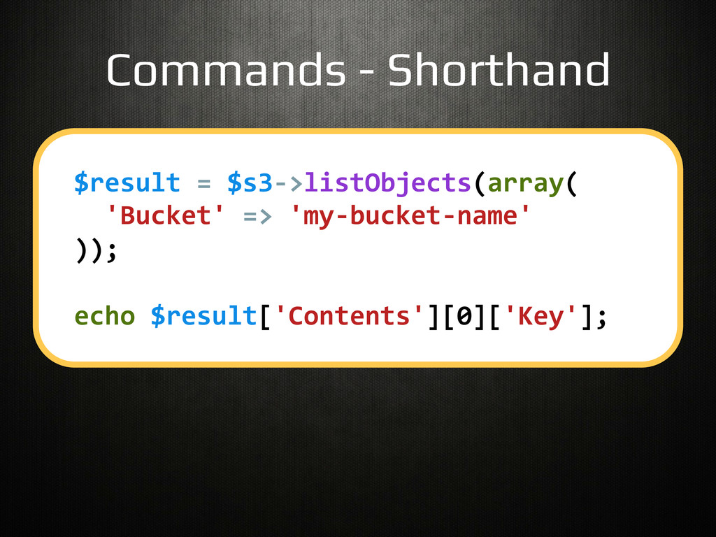 Commands - Shorthand! $result	