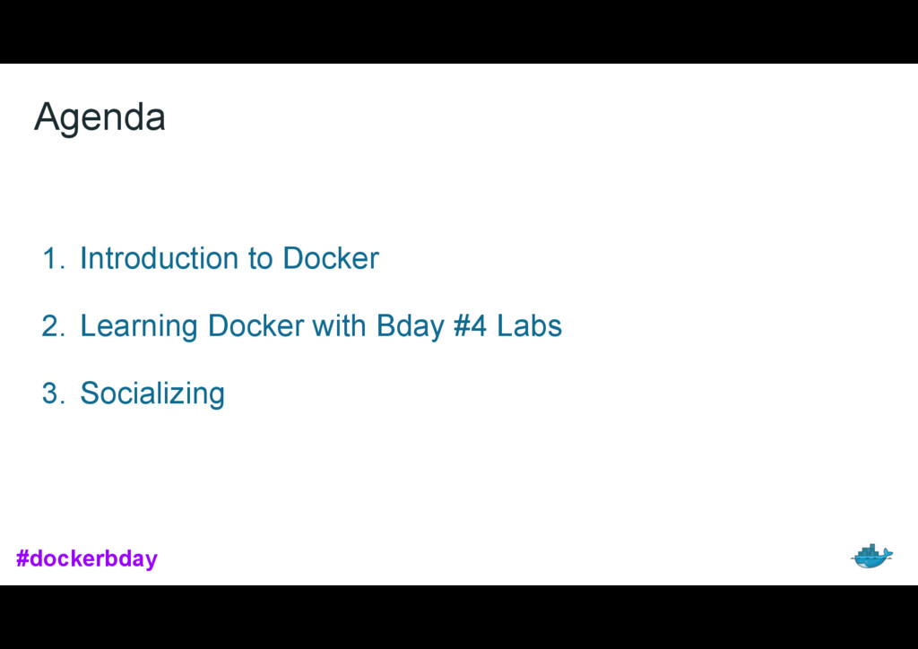 Agenda 1. Introduction to Docker 2. Learning Do...