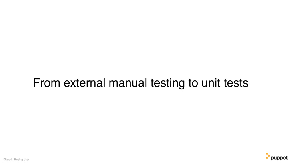 From external manual testing to unit tests Gare...