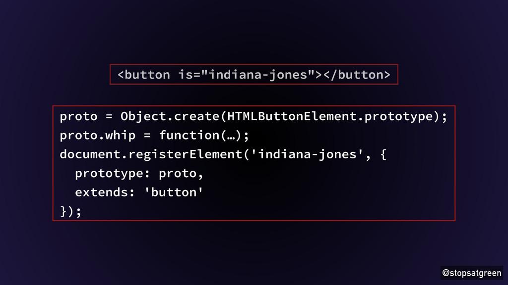 "@stopsatgreen <button is=""indiana-jones""></butt..."