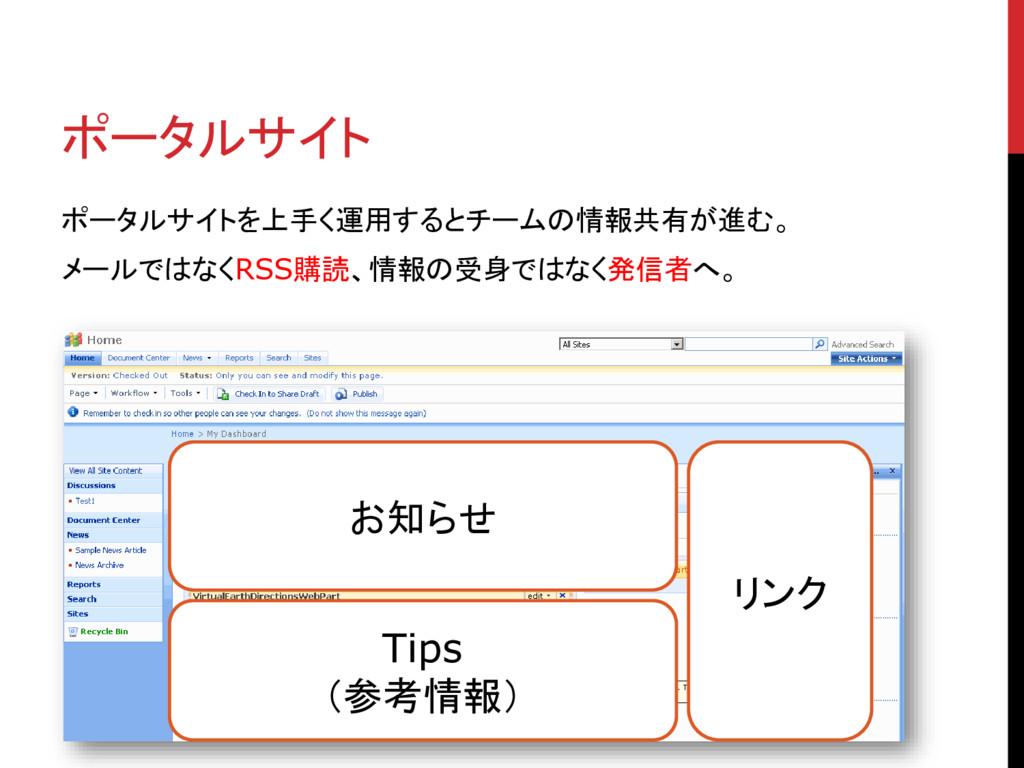 ポータルサイト ポータルサイトを上手く運用するとチームの情報共有が進む。 メールではなくRSS...