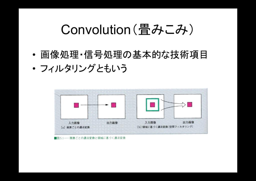 Convolution(畳みこみ) • 画像処理・信号処理の基本的な技術項目 • フィルタリン...