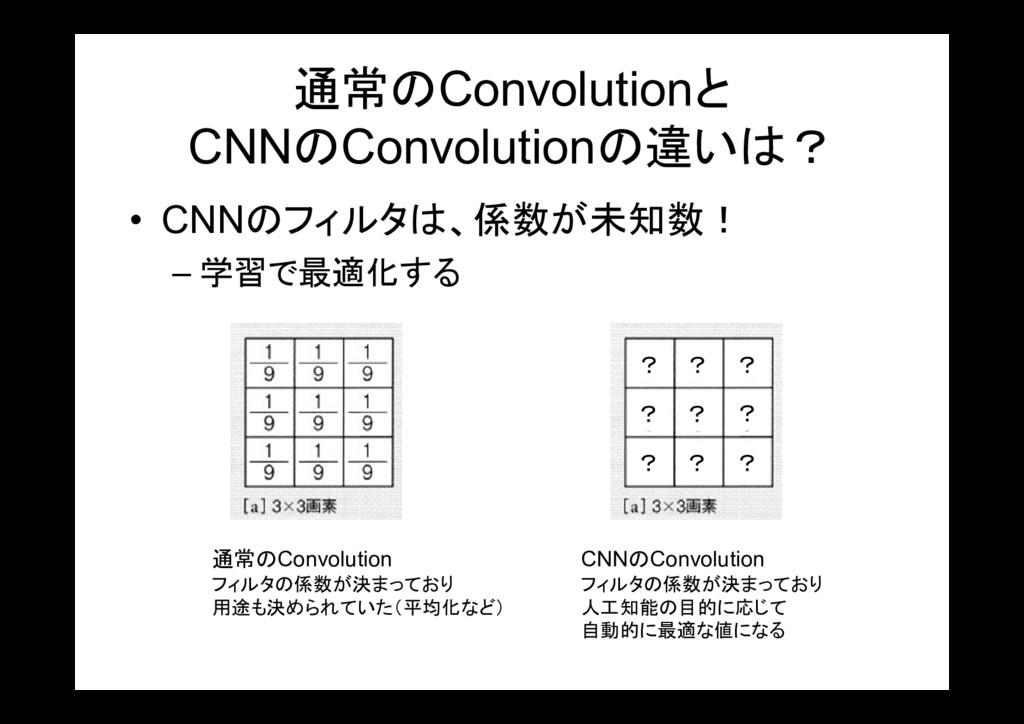 通常のConvolutionと CNNのConvolutionの違いは? • CNNのフィルタ...