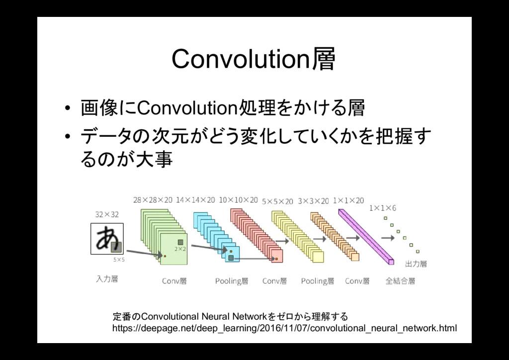 Convolution層 • 画像にConvolution処理をかける層 • データの次元がど...