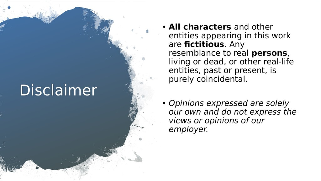 Disclaimer • All characters and other entities ...