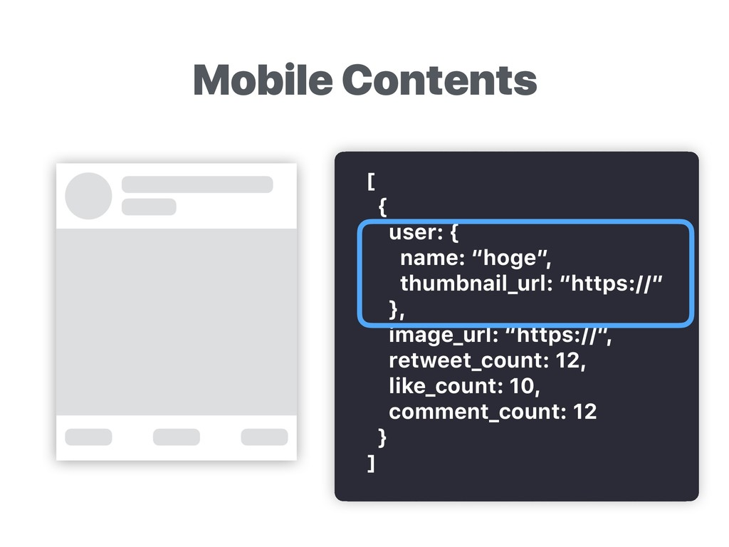 """Mobile Contents [ { user: { name: """"hoge"""", thumb..."""