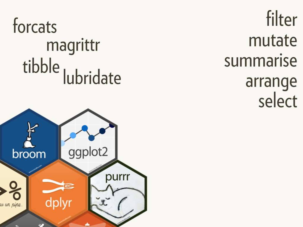 tibble lubridate forcats filter mutate summarise...
