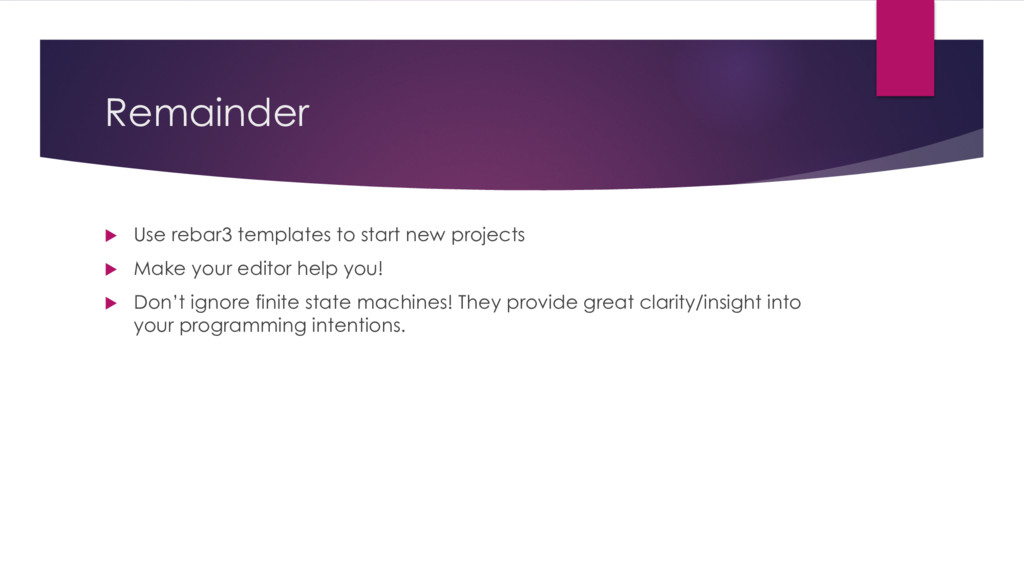 Remainder u Use rebar3 templates to start new p...