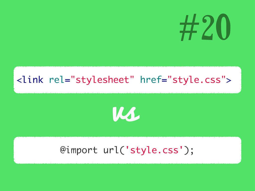 "<link rel=""stylesheet"" href=""style.css""> #20 vs..."