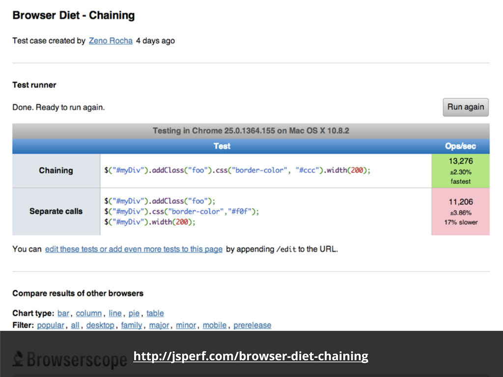 http://jsperf.com/browser-diet-chaining