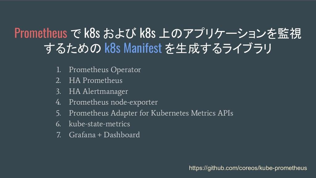 Prometheus で k8s および k8s 上のアプリケーションを監視 するための k8...