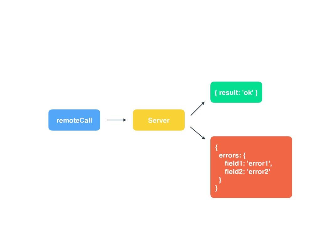 remoteCall Server { result: 'ok' } {  errors: ...
