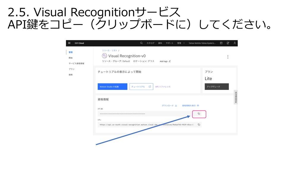 2.5. Visual Recognitionサービス API鍵をコピー(クリップボードに)し...