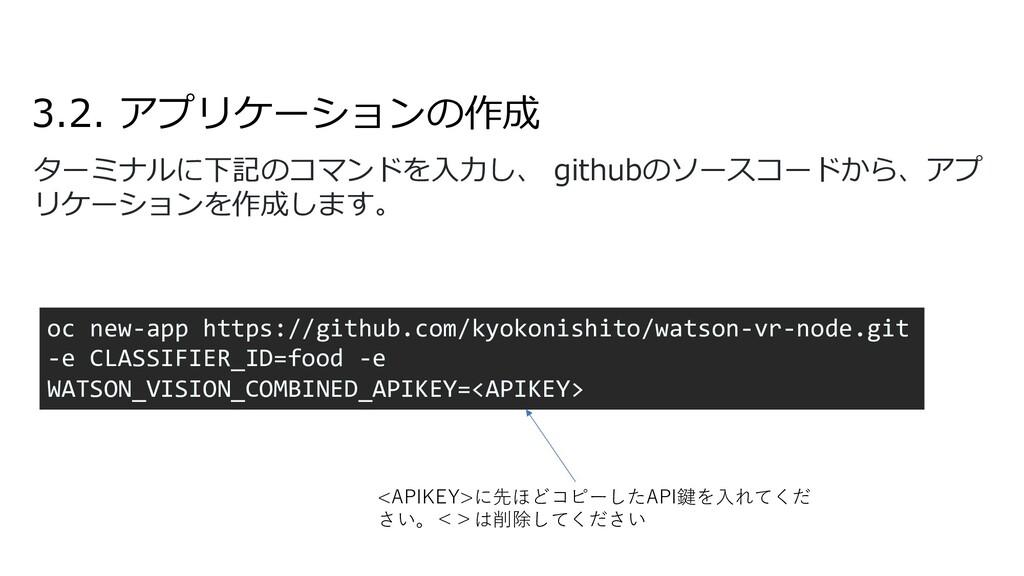 3.2. アプリケーションの作成 ターミナルに下記のコマンドを⼊⼒し、 githubのソースコ...