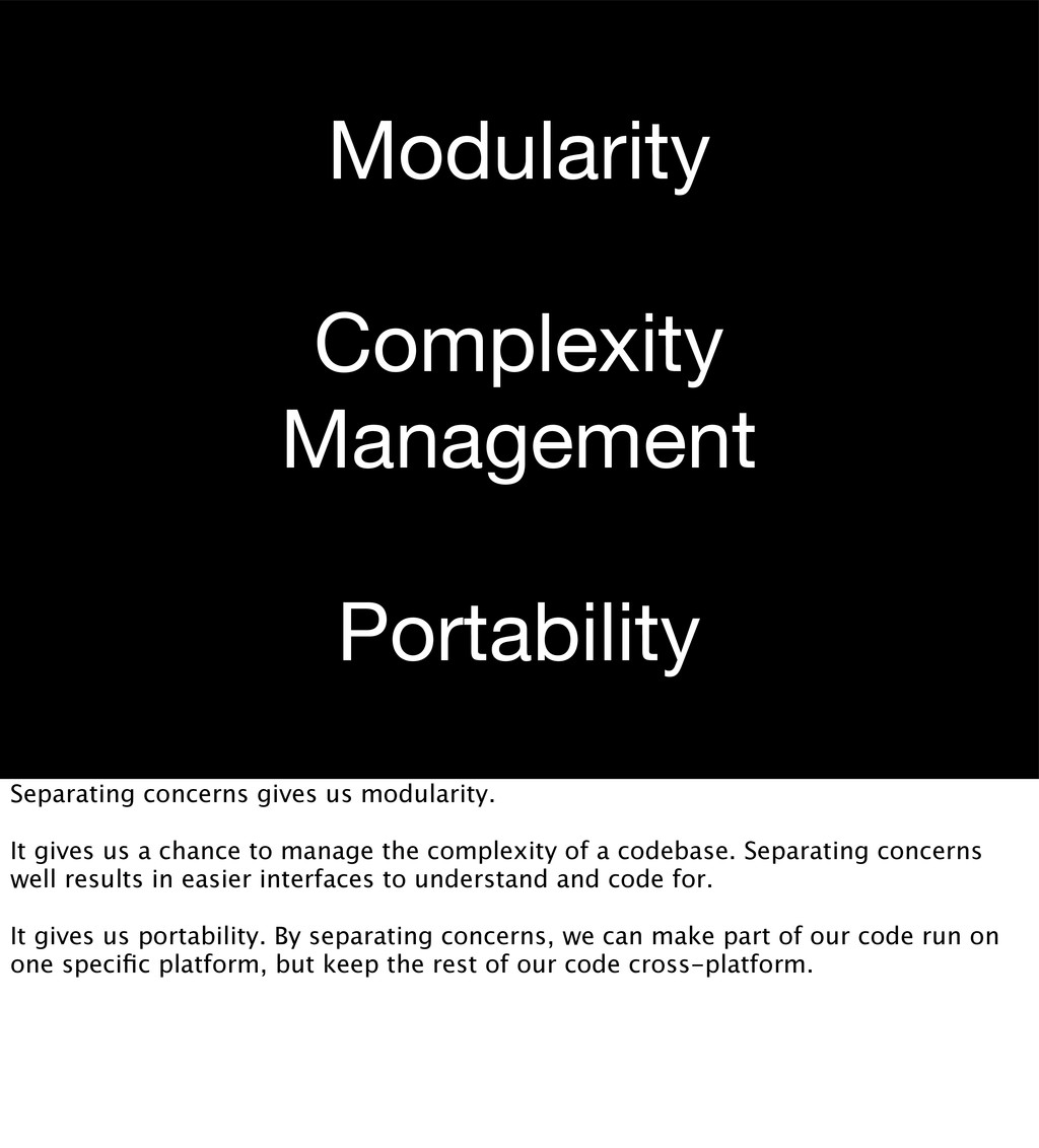 Modularity Complexity Management Portability Se...