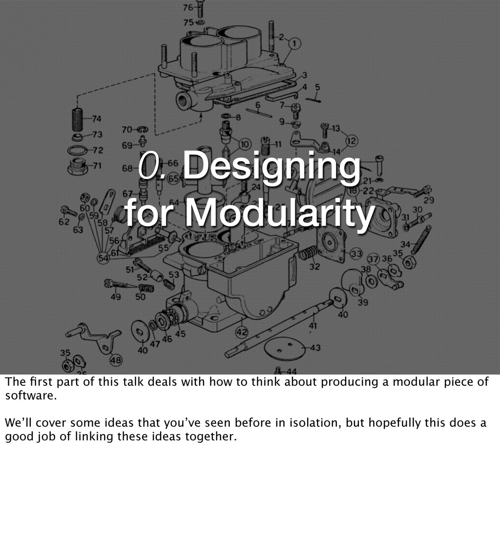 0. Designing for Modularity The first part of th...