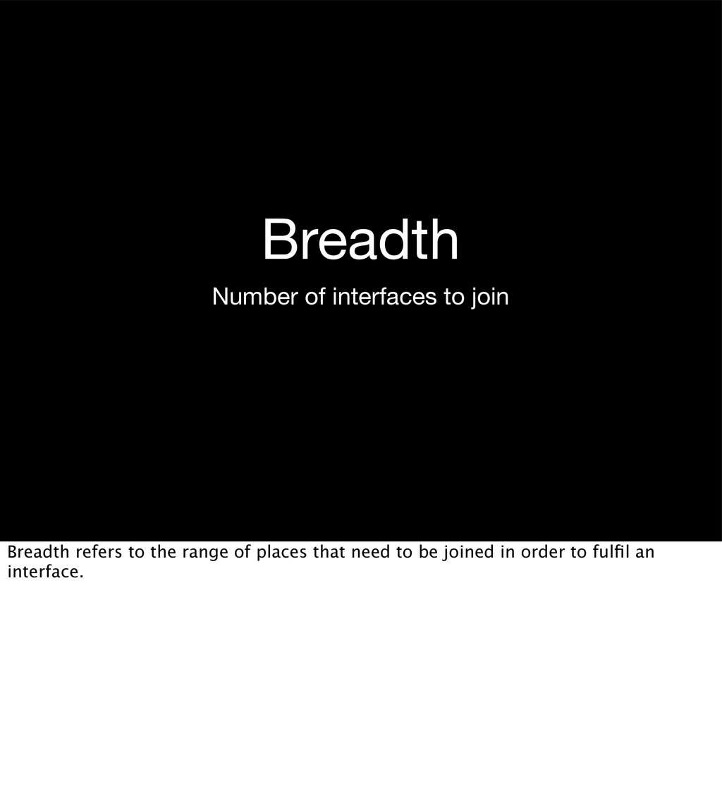 Breadth Number of interfaces to join Breadth re...
