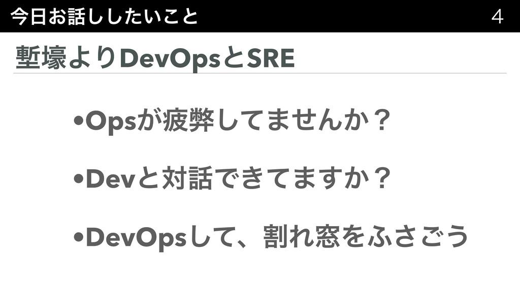 ࠓ͓͍ͨ͜͠͠ͱ  ᆠߺΑΓDevOpsͱSRE •Ops͕ർฐͯ͠·ͤΜ͔ʁ •Dev...
